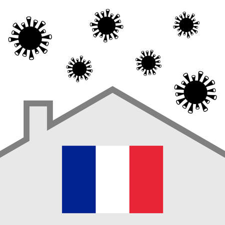 Stay at home icon with france flag and covid-19 virus Vectores