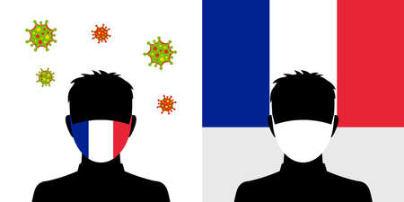 Man in protective face mask with france flag and virus icon