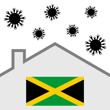 Stay at home icon with jamaica flag and covid-19 virus