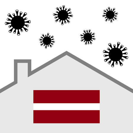 Stay at home icon with latvia flag and covid-19 virus Illustration