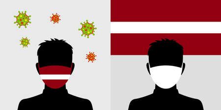 Man in protective face mask with latvia flag and virus icon