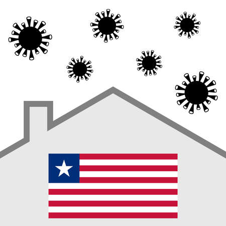 Stay at home icon with liberia flag and covid-19 virus