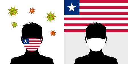 Man in protective face mask with liberia flag and virus icon Illustration
