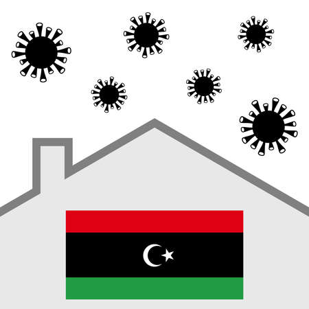 Stay at home icon with libya flag and covid-19 virus