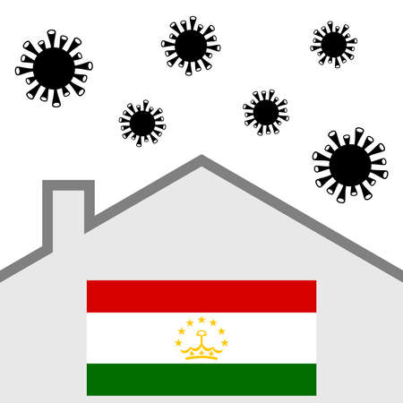Stay at home icon with tajikistan flag and covid-19 virus