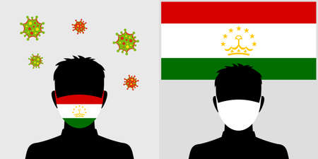 Man in protective face mask with tajikistan flag and virus icon Illustration