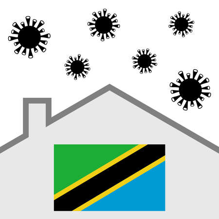 Stay at home icon with tanzania flag and covid-19 virus Illustration