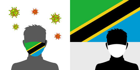 Man in protective face mask with tanzania flag and virus icon