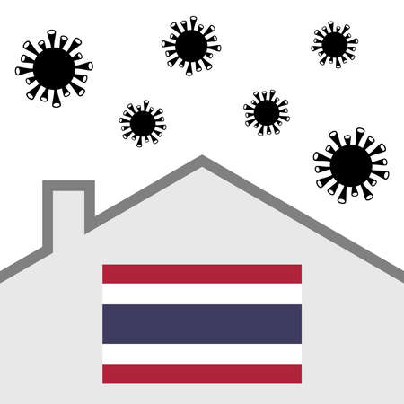 Stay at home icon with thai flag and covid-19 virus Illustration