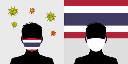 Man in protective face mask with thailand flag and virus icon