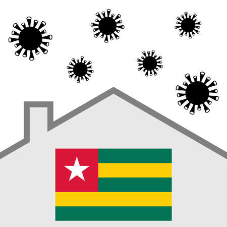 Stay at home icon with togo flag and covid-19 virus Illustration