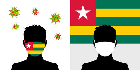 Man in protective face mask with togo flag and virus icon