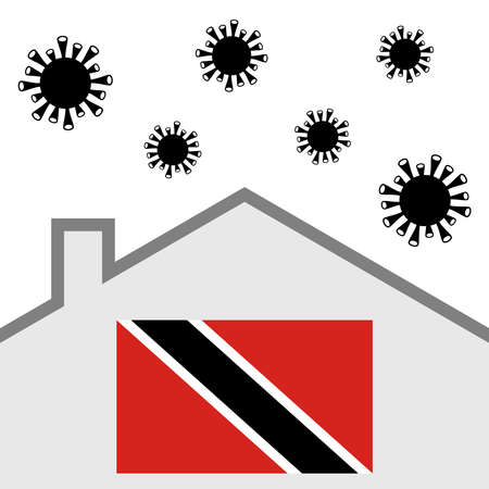 Stay at home icon with trinidad and tobago flag and covid-19 virus