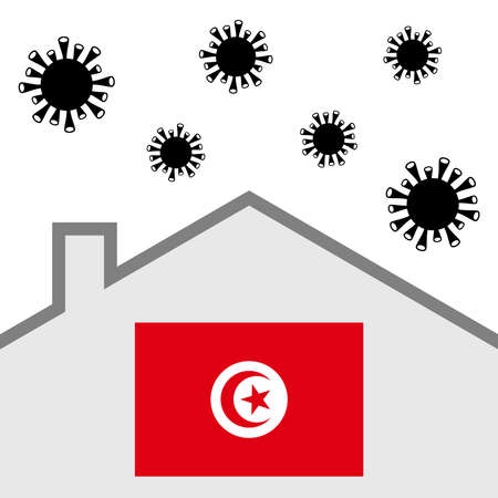 Stay at home icon with tunisia flag and covid-19 virus