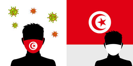Man in protective face mask with  tunisia flag and virus icon
