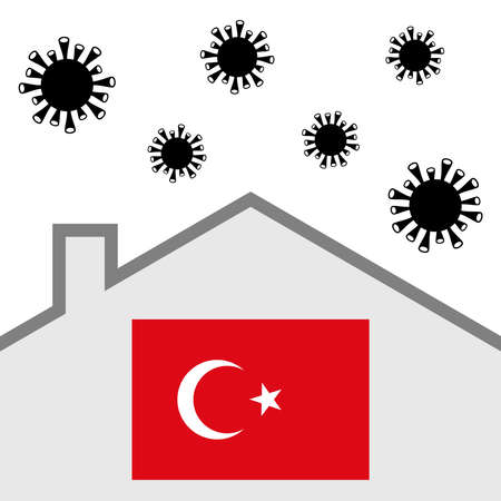 Stay at home icon with turkey flag and covid-19 virus Illustration