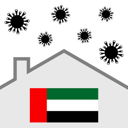 Stay at home icon with uae flag and covid-19 virus