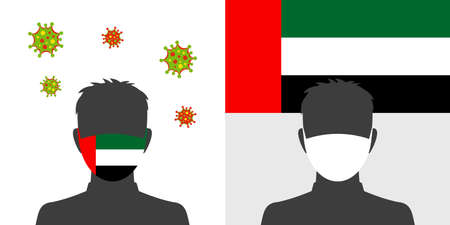 Man in protective face mask with uae flag and virus icon Illustration