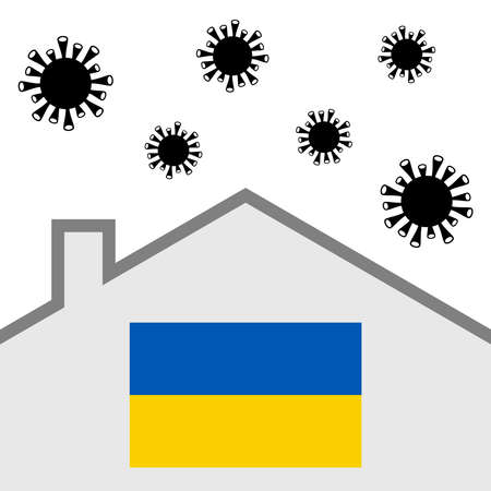 Stay at home icon with ukraine flag and covid-19 virus