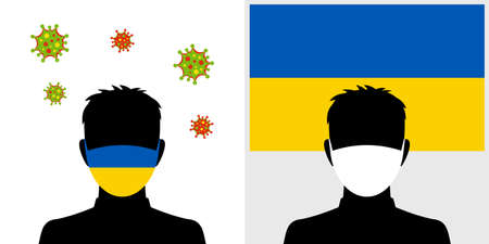 Man in protective face mask with ukraine flag and virus icon Ilustración de vector