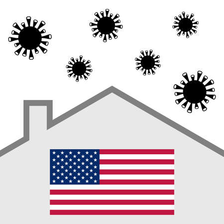 Stay at home icon with american flag and covid-19 virus Illustration