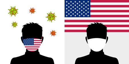 Man in protective face mask with american flag and virus icon