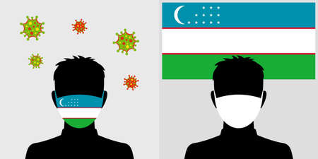 Man in protective face mask with uzbekistan flag and virus icon