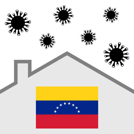 Stay at home icon with venezuela flag and covid-19 virus