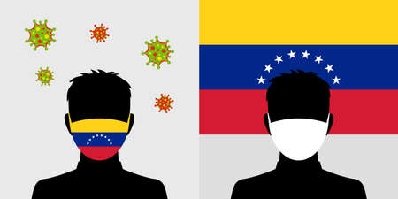 Man in protective face mask with venezuela flag and virus icon