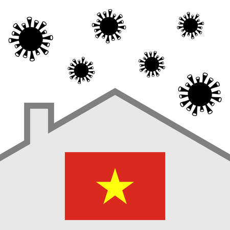 Stay at home icon with vietnam flag and covid-19 virus Illustration