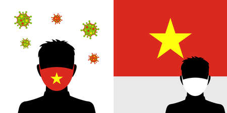 Man in protective face mask with vietnam flag and virus icon Illustration