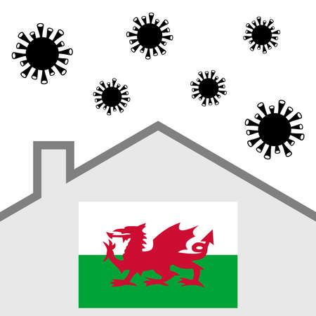 Stay at home icon with wales flag and covid-19 virus