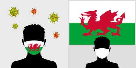 Man in protective face mask with wales flag and virus icon