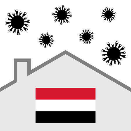 Stay at home icon with yemen flag and covid-19 virus