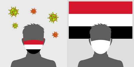 Man in protective face mask with yemen flag and virus icon