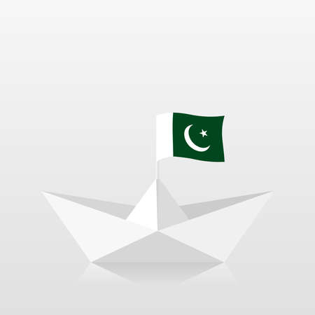 Paper boat with pakistan flag