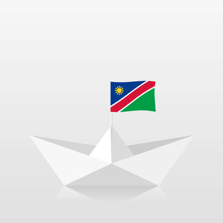 Paper boat with namibia flag Illustration