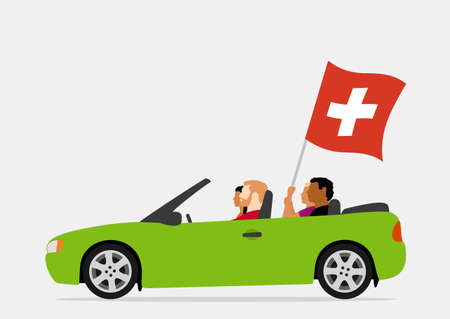 People in car with switzerland flag