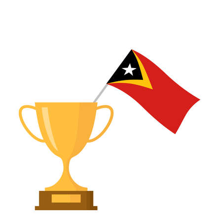 East timor flag and golden trophy cup icon Stock Illustratie