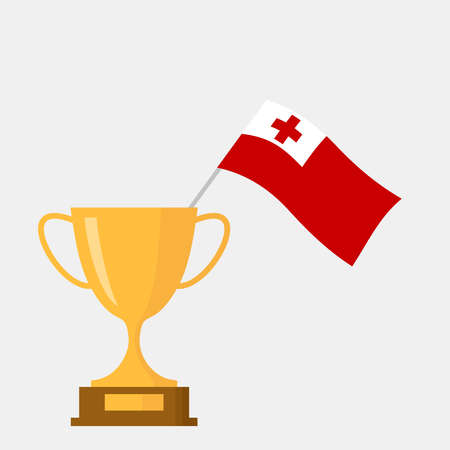 Tonga flag and golden trophy cup icon