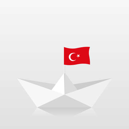 Paper boat with turkey flag Stock Illustratie