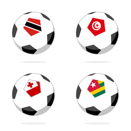 Soccer ball icon with trinidad and tobago, tonga, tunisia and togo flag Stock Illustratie