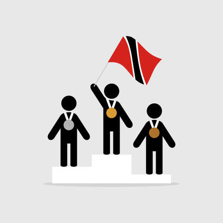 Champion with trinidad and tobago flag on winner podium Stock Illustratie