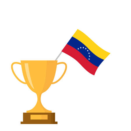 Venezuela flag and golden trophy cup icon