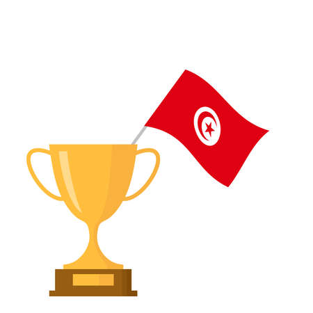 Tunisia flag and golden trophy cup icon Stock Illustratie