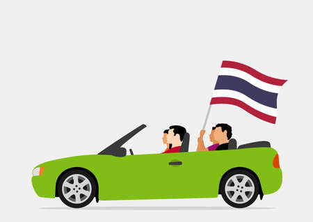 People in car with thailand flag