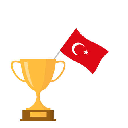 Turkey flag and golden trophy cup icon Stock Illustratie
