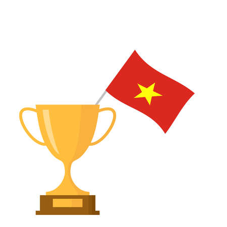 Vietnam flag and golden trophy cup icon