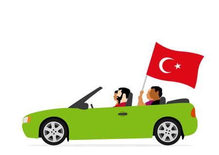 People in car with turkey flag