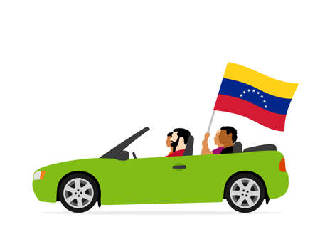 People in car with venezuela flag